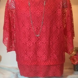 NWT DRESS BARN RED OVERLAY TOP